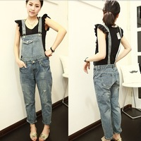 2013 fashion design women straps detachable hole jumpsuits two ways wear ninth denim bib pants women suspenders jeans