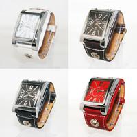 hot sale 10pcs/lot  Stylish Fashion PU Leather Unisex Quartz Casual Analog Dress Wrist Watch 4 Color
