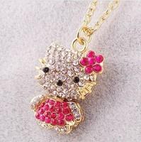 Min order is $10(mix order)New Style Girls Jewelry FashionCrystal Hello Kitty necklaceWOMEN pendant necklaces Rhinestone