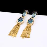 2013 New Fashion accessories blue crystal tassel earrings