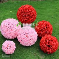 Wholesale -  13.5cm 15cm Wedding Decorations Silk Kissing Pomander rose Flowers Balls Wedding bouquet o