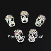 30 pcs Black Eye Skull 3D Alloy Crystal AB Rhinestone Nail Art Tip Skeleton DIY Decoration Phone DIY UV Gel 12X7mm