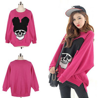2013 New Women's Cute Big Skull Print Plus Size Hoodie Pullovers Blouses Fashion Loose Skeleton Head Thickening Sweatshirts