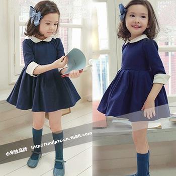 2013 autumn new arrival  elegant half sleeve peter pan collar cute princess girl dress