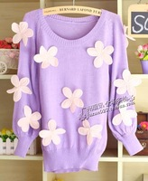 2013 autumn sweet 3D Big flower pullover knitted sweater women's o-neck sweater pullover sweater