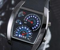 free shipping Cool RPM Turbo Blue LED Aviation Pilot Speedometer Digital Men Wrist Watch