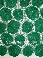 french lace,chemical lace fabric,best quality,new design,one piece 5yards,fast delivery, J174-1 green