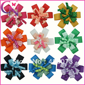 "30 pieces/lot 4"" dots print hair bow for baby korker hair bow with clip for kids boutique handmade hair bow  CNHBW-1310133"