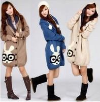 2013 women's winter yarn overcoat loose plus size long rabbit design plus velvet thickening sweater outerwear