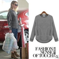 Free Shipping  2013 New Winter Women'S Big Round Neck Long-Sleeved T-Shirt Wholesale Plush Z802