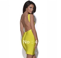 Free Shipping 2013 New Fashion Bandage Dress Yellow Red Black Women Party Night Club Wear Evening Dress Backless Bodycon D25