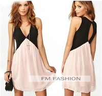 Women Sexy Patchwork Back Hollow out Deep V-neck Sleeveless Chiffon Dress Vest Dress Plus Size Free Shipping