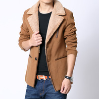 free shipping lapel single-breasted  Three-dimensional patch pocket Short design male berber fleece trench  khaki black blue
