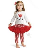 LS266 New fashion I LOVE SANTA girl red christmas set(2PC),t shirt+skirt pants,kids new year clothes,Wholesale Retail/Little Sun