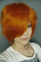New Short Dark orange Cosplay Party Full Wig