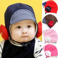 free shipping 3451 princess hat baby hat child hat pocket baby hat earmuffs cotton cloth cap