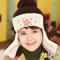3274 male female child winter plus velvet ear line cap five-pointed star ear protector cap child fashion lei feng cap