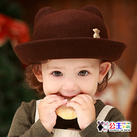 free shipping 3225 princess autumn and winter beanie pure wool fedoras baby hat baby bear style bucket hats