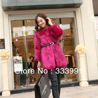 2013 new winter imitation fake fur coat Copy the fox fur long red coat buy Presented a belt outerwear overcoat clothing luxury