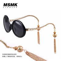 The new chain tassel round frame sunglasses gold pendant earrings fashion retro sunglasses