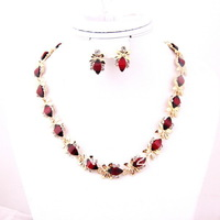 New arrival Fashion Jewelry Set Gold Plate Red Resin Beads Jewelry Sets,gold necklace fashion jewelry