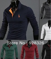 Korean fashion fawn polo shirt men's casual long-sleeved shirt POLO embroidered 6 colors Free shipping