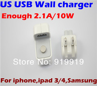 Wholesale Universal US USB Wall Home Charger for ipad 3/4 for iphone Samsung,500pcs/lot DHL Free