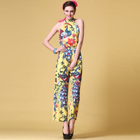 Fashion 2013 women's print jumpsuit slim sleeveless jumpsuit