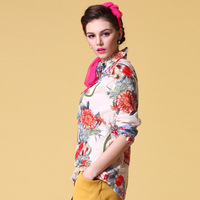 2013 spring and summer women's print long-sleeve shirt water wash 100% cotton shirt fashion national trend top