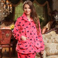 Autumn and winter women's thickening flannel sleepwear cartoon puppy long-sleeve coral fleece lounge set