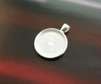 FREE SHIPPING 10PCS Bright Silver 25mm Round Pendant Trays Cabochon Settings #23437