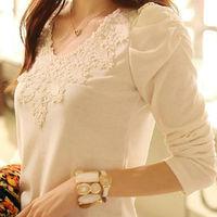 [Beauty Discovery] Hot Sale 2014 Women Autumn Fashion Long Puff sleeve Cute Lace White T-Shirts Tops PLUS SIZE S - XXL 0239
