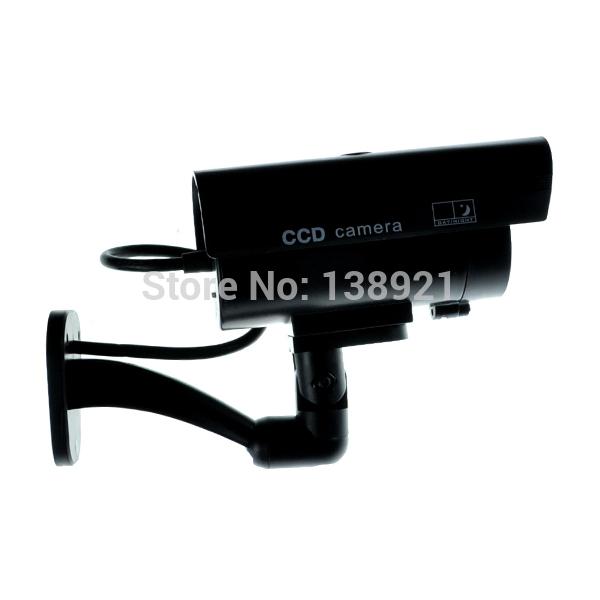 Black Waterproof Outdoor Dummy Fake CCTV IR Security Camera Flash Red LED CCD Surveillance Camera-(China (Mainland))
