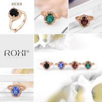 ROXI brand Fahion colors Crystal Ring,Real Rose Gold Plated,made with Austrian and Zircon Crystal,Fashion Jewelry,2010012325
