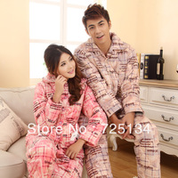 2013 New arrival Winter thickening coral fleece cotton-padded lovers sleepwear, lounge set