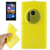 Translucent TPU Case for Nokia Lumia 1020 Yellow with Anti-dust Plug