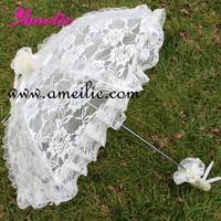Beige,Black And White Battenburg Lace Ruffle Wedding Bridal Parasol Umbrella