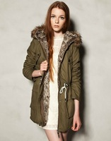 women winter fashion hooded cotton-padded casual long jacket warm coat           PH0209
