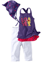 Free shipping baby vest suit single purple beach set piece set bandanas t-shirt capris baby suits