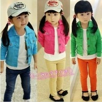 Dearie baby autumn female child candy color water wash denim outerwear cardigan