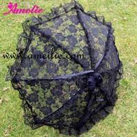 China Post Free Shipping BlackBattenburg Lace Ruffle Wedding Bridal Parasol Umbrella