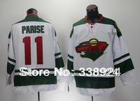New White Minnesota #11 Zach Parise Men's Ice Hockey Jersey,Embroidery and Sewing Logos,Size M--3XL,Accept Mix Order