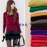 Basic sweater mercerized cotton all-match u basic sweater female knitted basic o-neck shirt