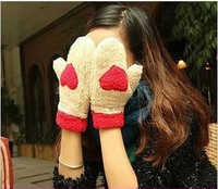 2013 Hot Sale autumn and winted thermal thickening plush gloves love female thermal full finger gloves 4 Color Free Shipping