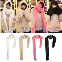 2013 autumn and winter male women's plush with a hood lovers scarf hat gloves one piece