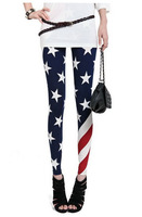 the Stars and Stripes Girl Legging Pants Jeans wear out Look Sexy Free Shipping Wholesale W3169