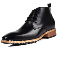 new men genuine leather shoes men's elevator shoes height Increasing 8cm flats
