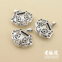 925 thai silver double faced cutout carved safe lock pendant hangings pure silver accessories diy accessories b