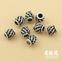 Thai silver 925 4.5mm cutout slanting stripe ductulus septa pure silver diy bracelet silver c