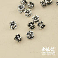 Thai silver 925 5.2mm every bead flower flat bead pure silver diy beads accessories